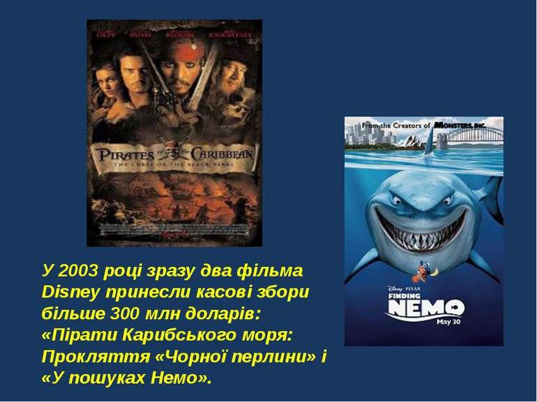 У 2003 році зразу два фільма Disney принесли касові збори більше 300 млн дола...