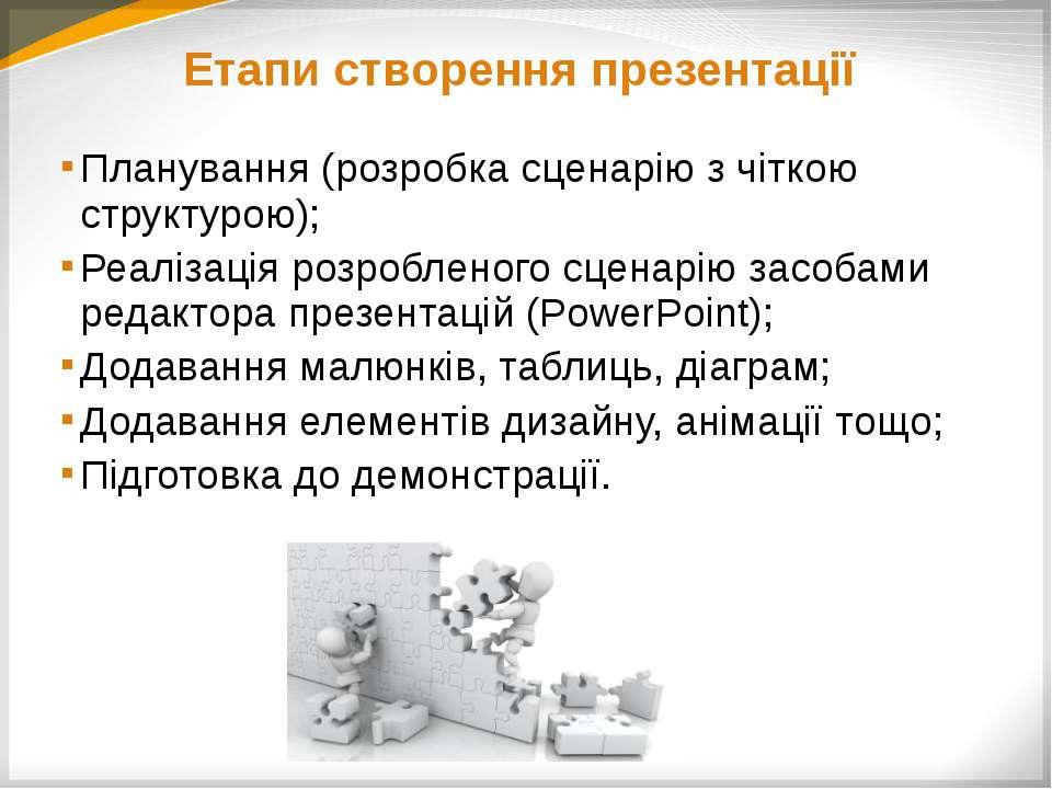 Планування презентації На якому етапі уроку буде використано презентацію? Яки...