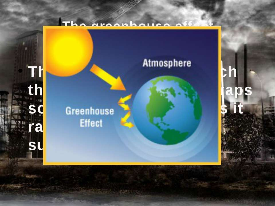 The greenhouse effect The phenomenon by which the earth's atmosphere traps so...