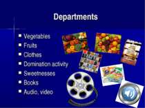 Departments Vegetables Fruits Clothes Domination activity Sweetnesses Books A...