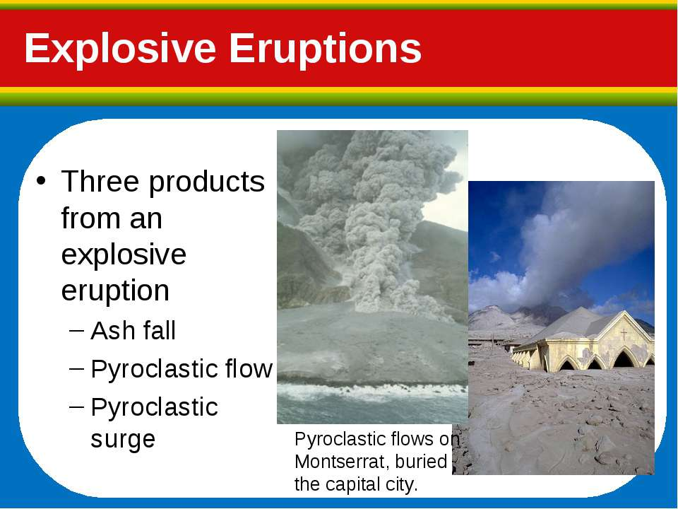 Three products from an explosive eruption Ash fall Pyroclastic flow Pyroclast...