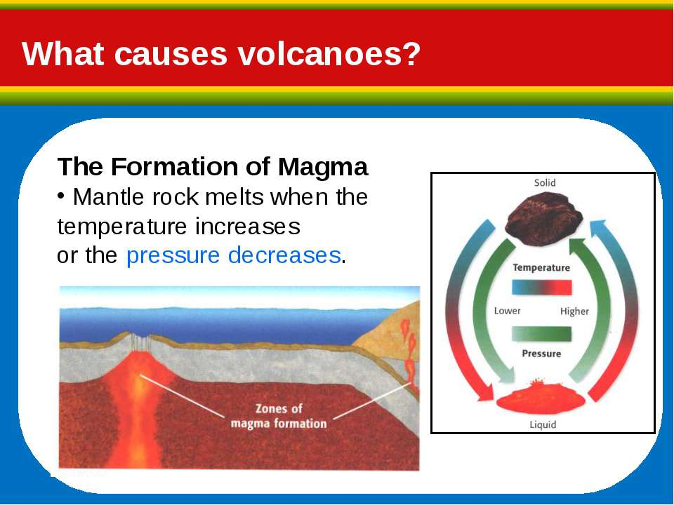What causes volcanoes? The Formation of Magma Mantle rock melts when the temp...