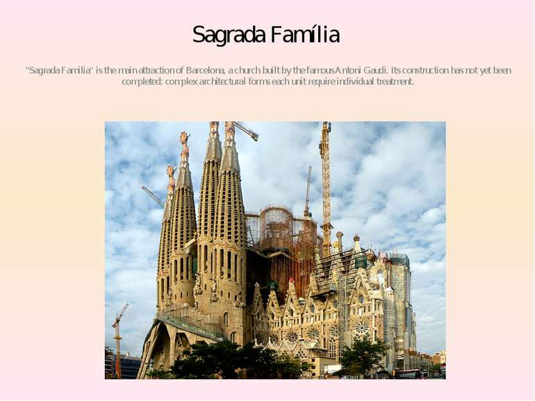 "Sagrada Família ""Sagrada Familia"" is the main attraction of Barcelona, a chur..."