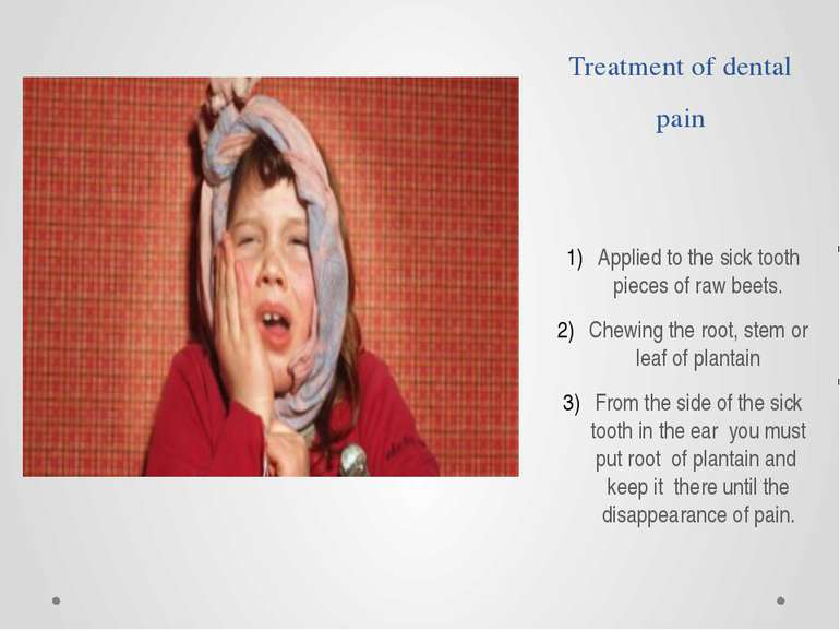 Treatment of dental pain Applied to the sick tooth pieces of raw beets. Chewi...