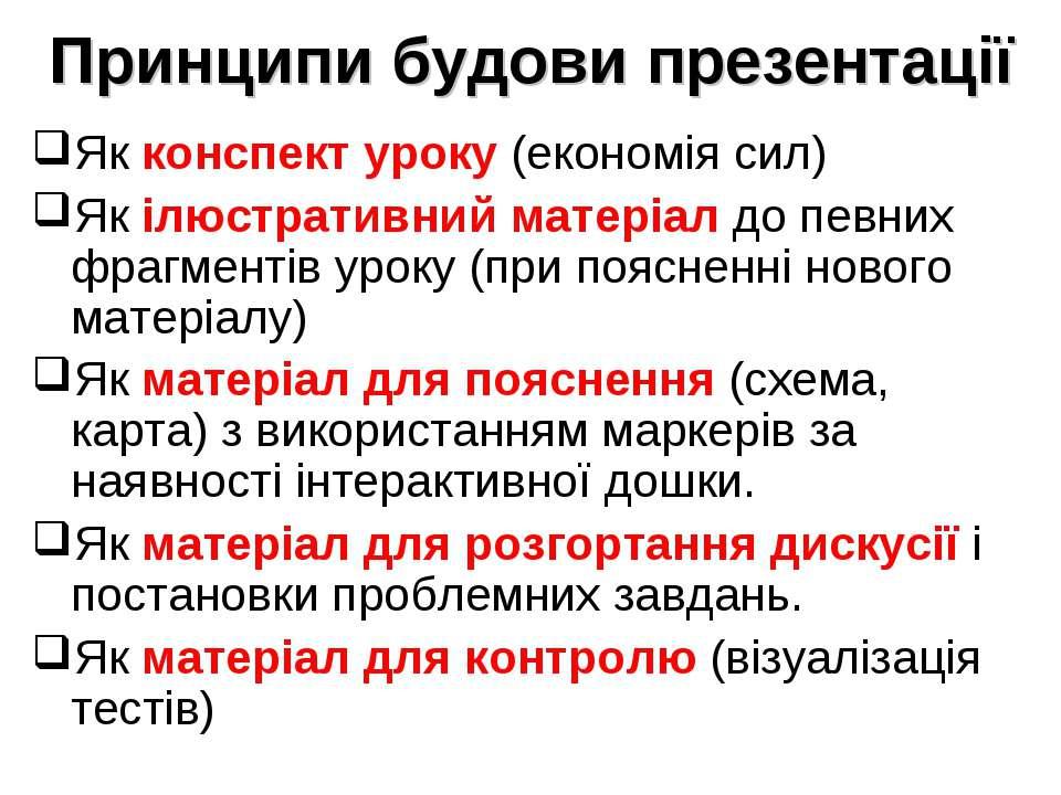 Принципи будови презентації Як конспект уроку (економія сил) Як ілюстративний...
