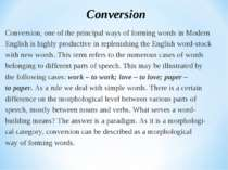 Conversion, one of the principal ways of forming words in Modern English is h...