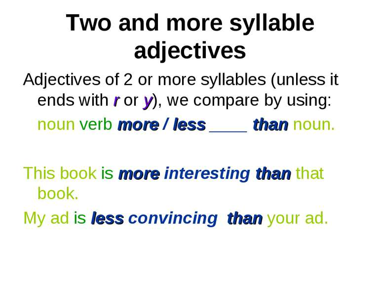 Two and more syllable adjectives Adjectives of 2 or more syllables (unless it...