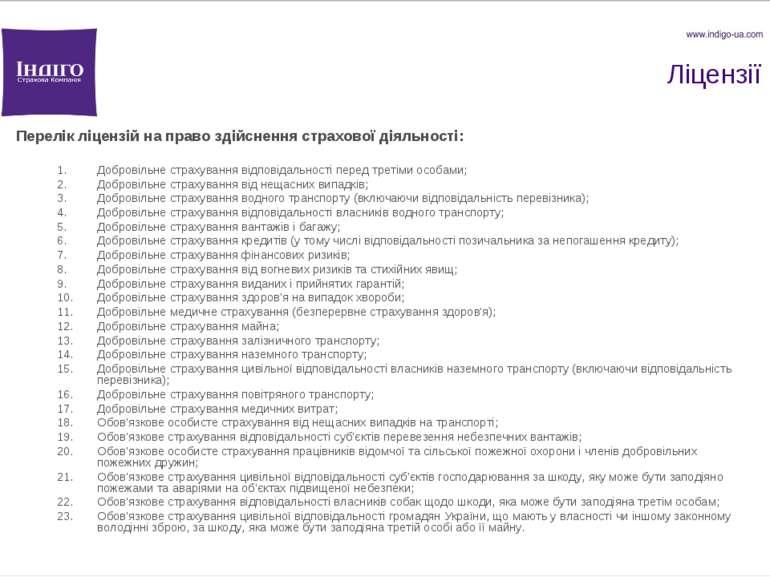 Ліцензії Перелік ліцензій на право здійснення страхової діяльності: Добровіль...