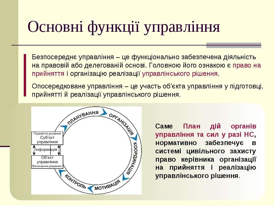 Основні функції управління Безпосереднє управління – це функціонально забезпе...