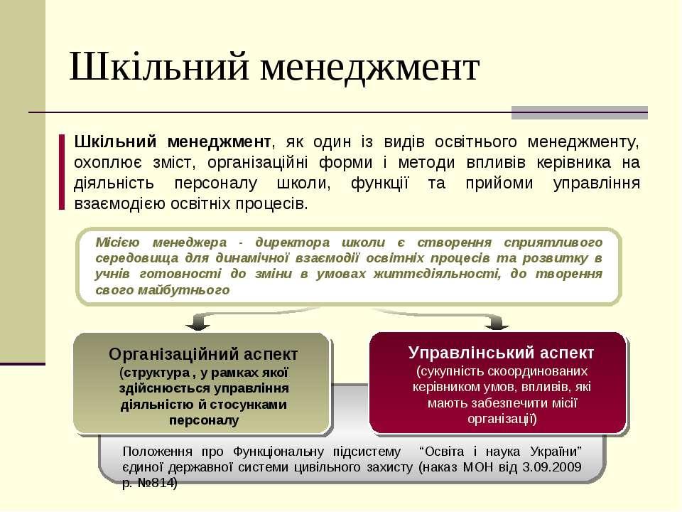 Шкільний менеджмент Шкільний менеджмент, як один із видів освітнього менеджме...