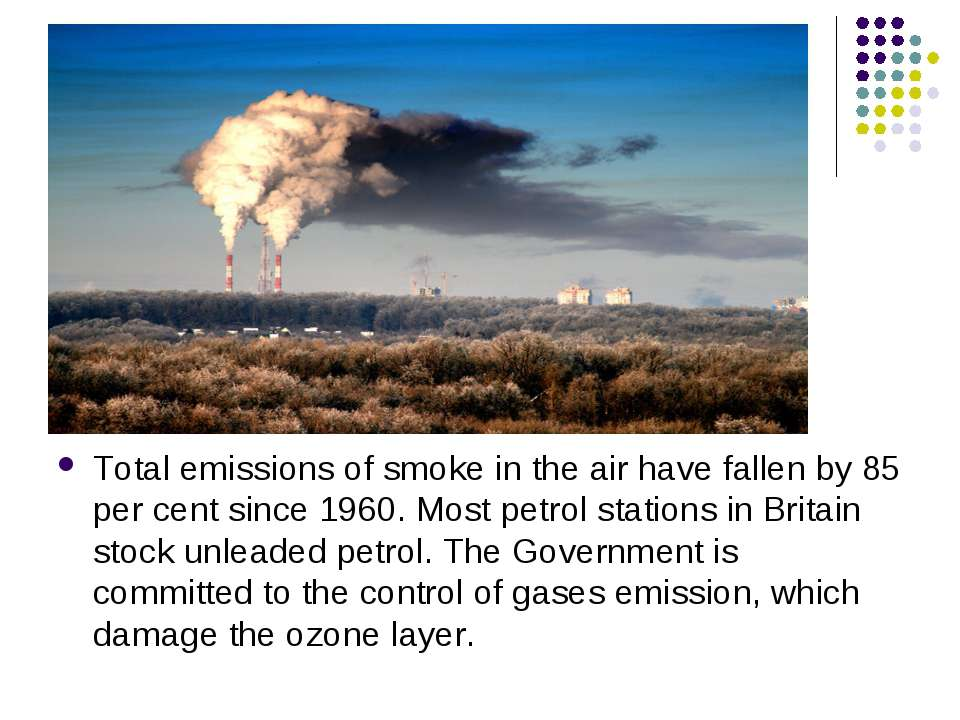 Total emissions of smoke in the air have fallen by 85 per cent since 1960. Mo...