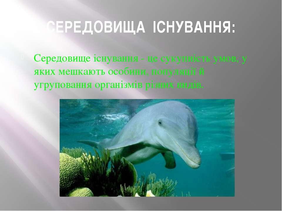 СЕРЕДОВИЩА ІСНУВАННЯ: Середовище існування - це сукупність умов, у яких мешка...