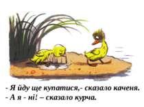 - Я йду ще купатися,- сказало каченя. - А я - ні! – сказало курча.