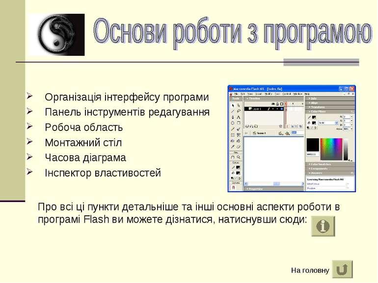 Організація інтерфейсу програми Панель інструментів редагування Робоча област...