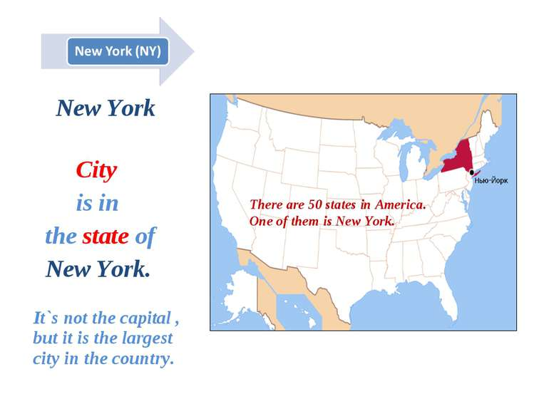 New York City is in the state of New York. It`s not the capital , but it is t...