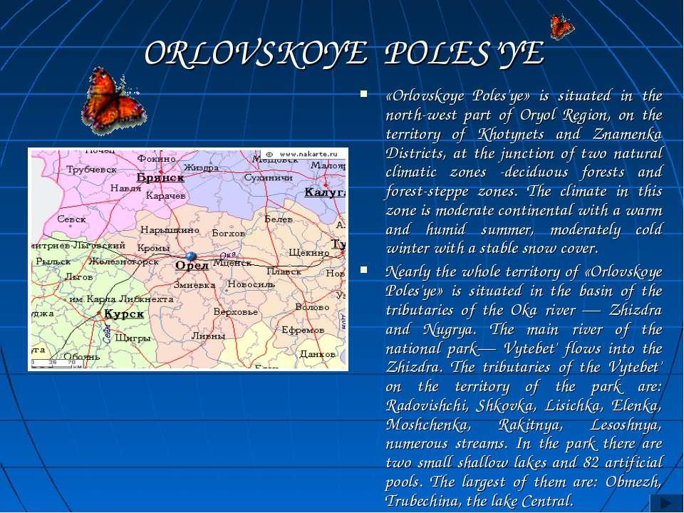 ORLOVSKOYE POLES'YE «Orlovskoye Poles'ye» is situated in the north-west part ...