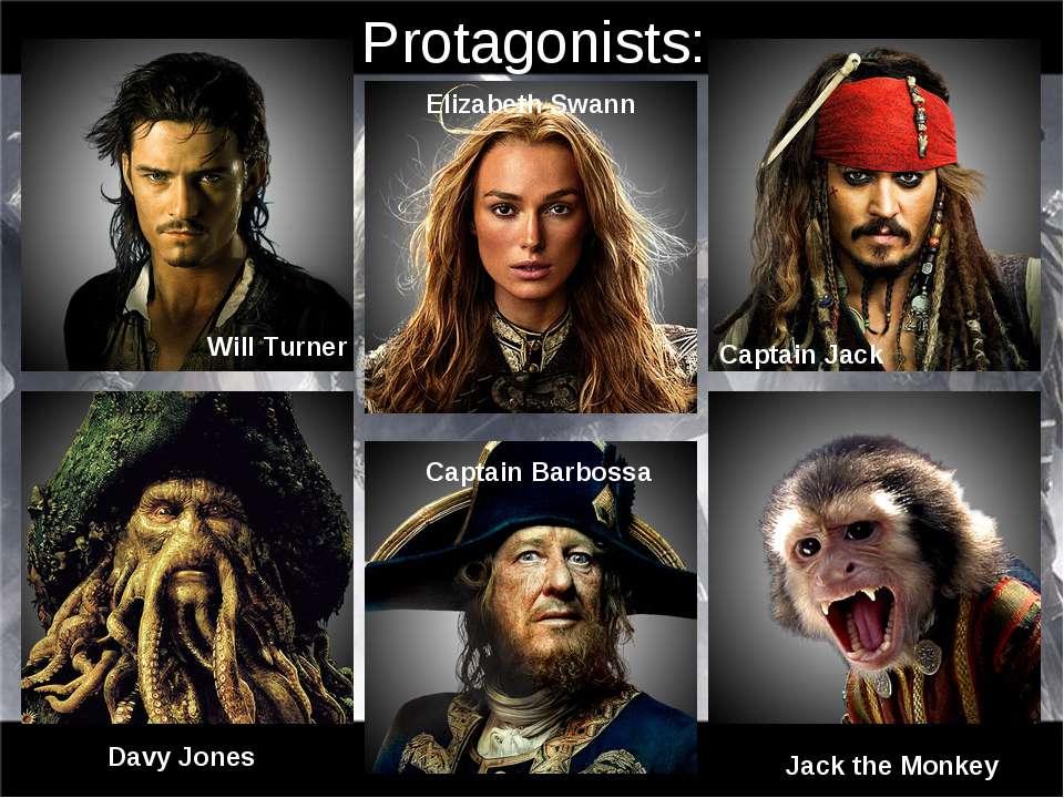 Protagonists: Will Turner Elizabeth Swann Captain Jack Captain Barbossa Davy ...