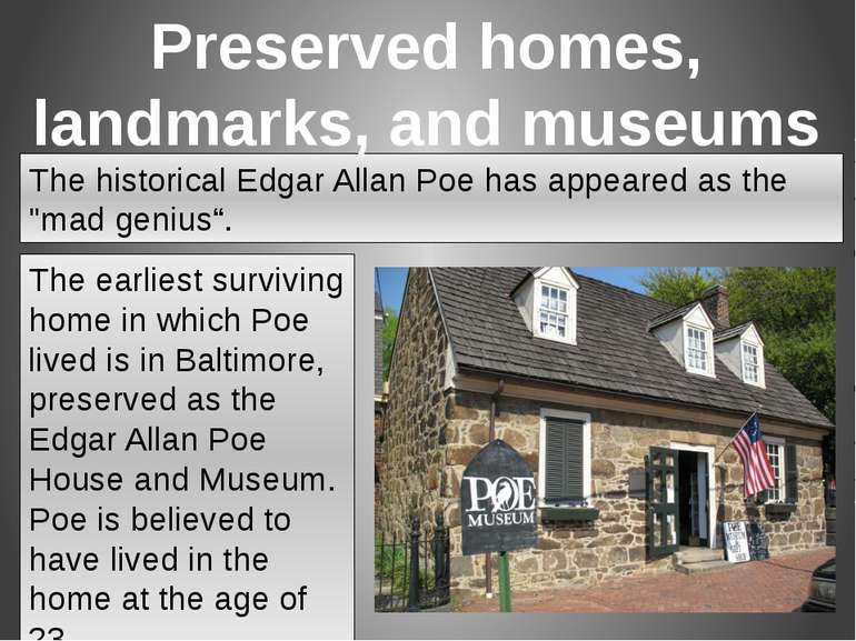 "The historical Edgar Allan Poe has appeared as the ""mad genius"". The earliest..."
