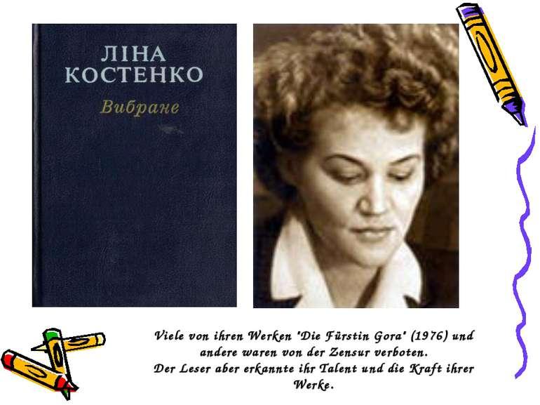 """Viele von ihren Werken """"Die Fürstin Gora"""" (1976) und andere waren von der Zen..."""