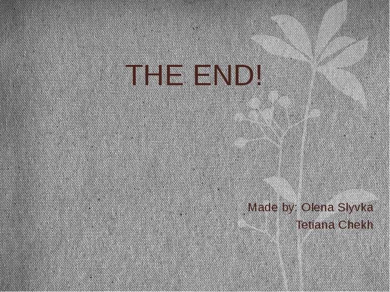 THE END! Made by: Olena Slyvka Tetiana Chekh
