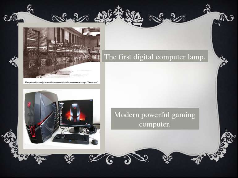 The first digital computer lamp. Modern powerful gaming computer.