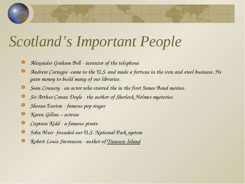 Scotland's Important People Alexander Graham Bell - inventor of the telephone...