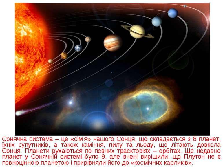 Сонячна система – це «сім'я» нашого Сонця, що складається з 8 планет, їхніх с...