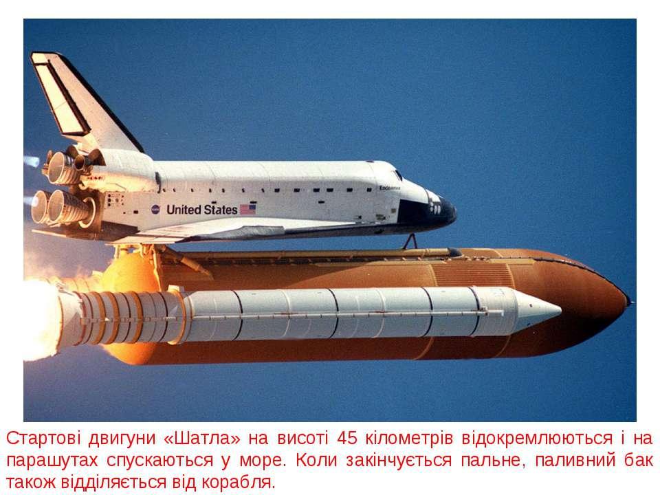 Стартові двигуни «Шатла» на висоті 45 кілометрів відокремлюються і на парашут...