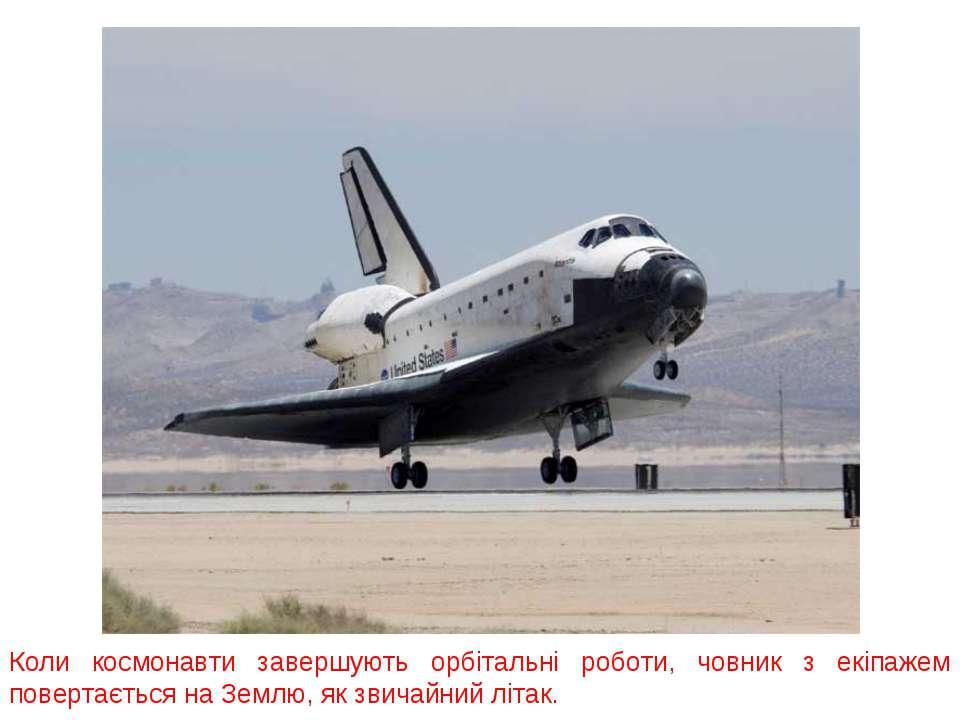 Коли космонавти завершують орбітальні роботи, човник з екіпажем повертається ...