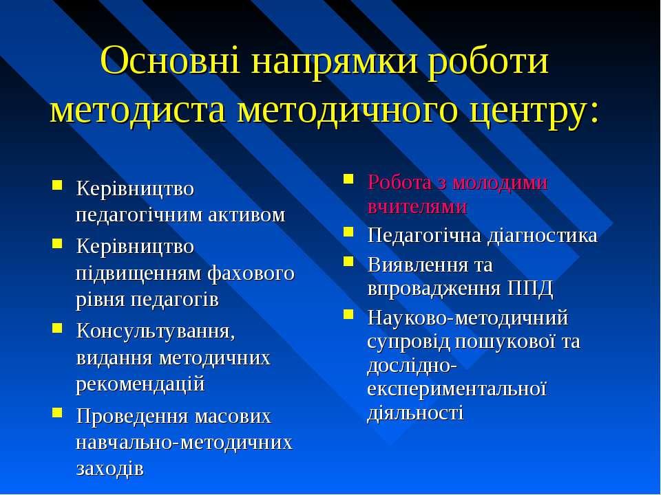 Основні напрямки роботи методиста методичного центру: Керівництво педагогічни...