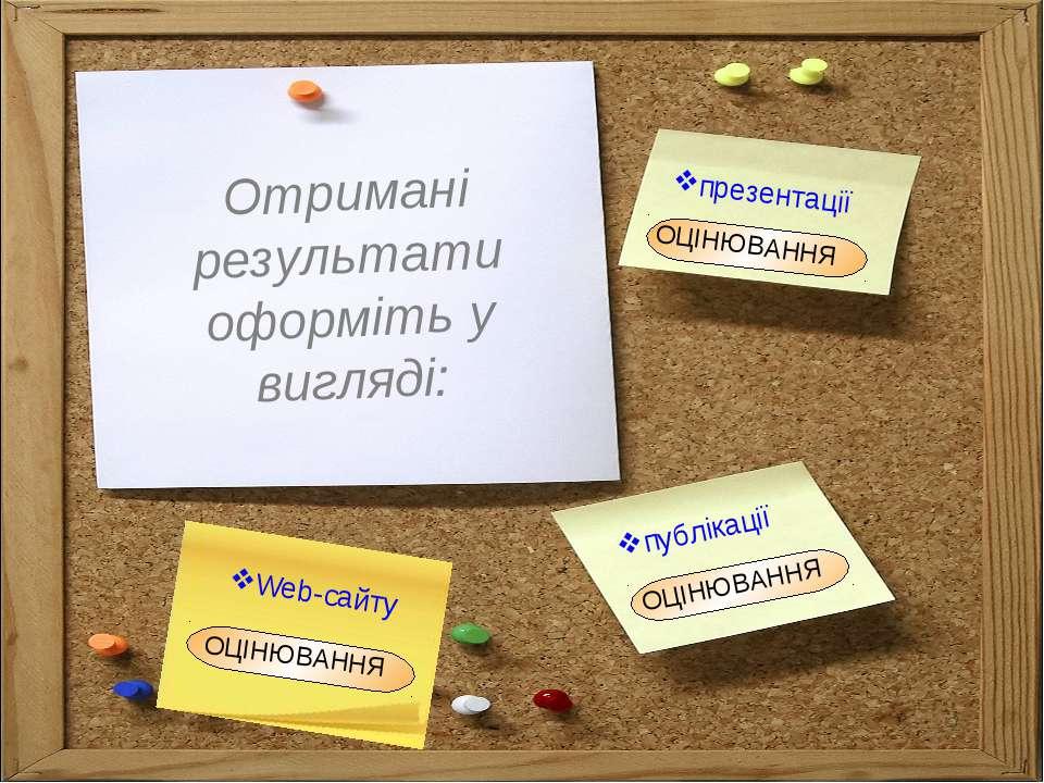 Отримані результати оформіть у вигляді: презентації публікації ОЦІНЮВАННЯ Web...