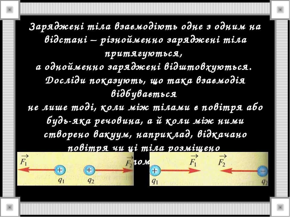 Заряджені тіла взаємодіють одне з одним на відстані – різнойменно заряджені т...