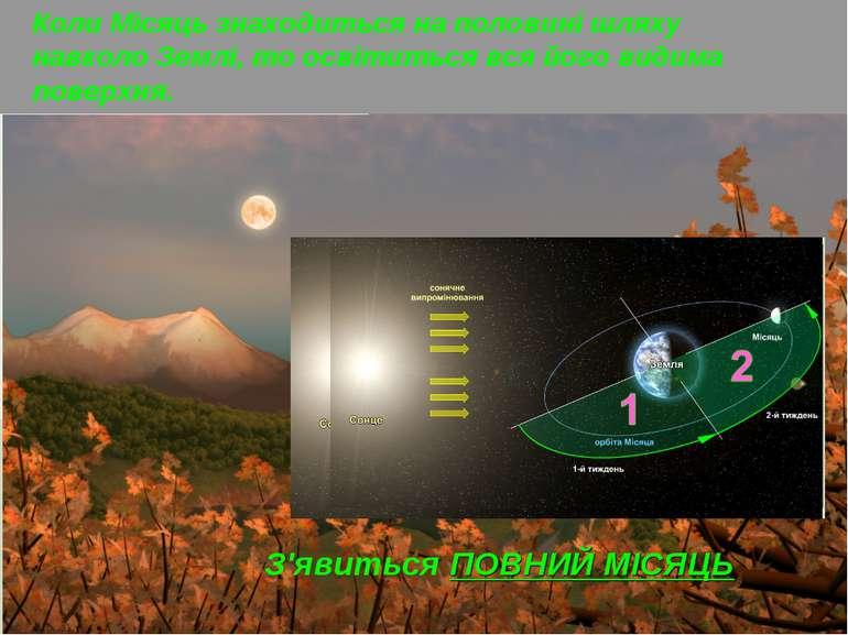 Коли Місяць знаходиться на половині шляху навколо Землі, то освітиться вся йо...