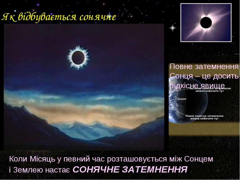 Як відбувається сонячне затемнення? Коли Місяць у певний час розташовується м...