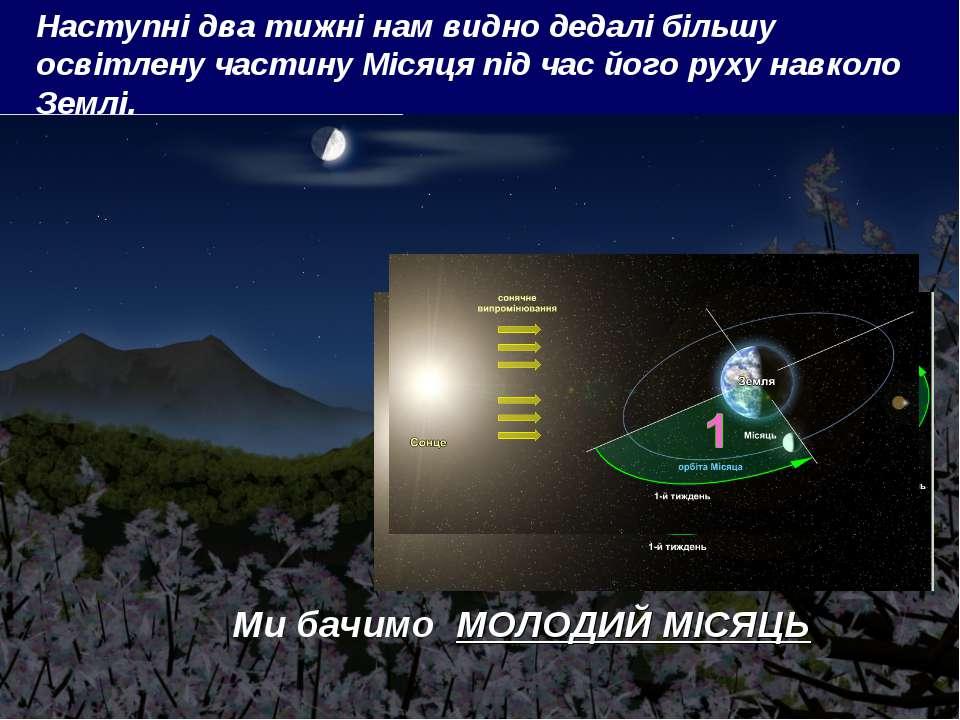Наступні два тижні нам видно дедалі більшу освітлену частину Місяця під час й...