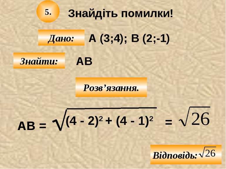 Знайдіть помилки! А (3;4); Дано: В (2;-1) Знайти: 5. АВ Розв'язання. АВ = (4 ...