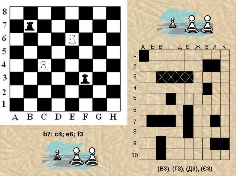 (В3), (Г3), (Д3), (Є3) b7; c4; e6; f3