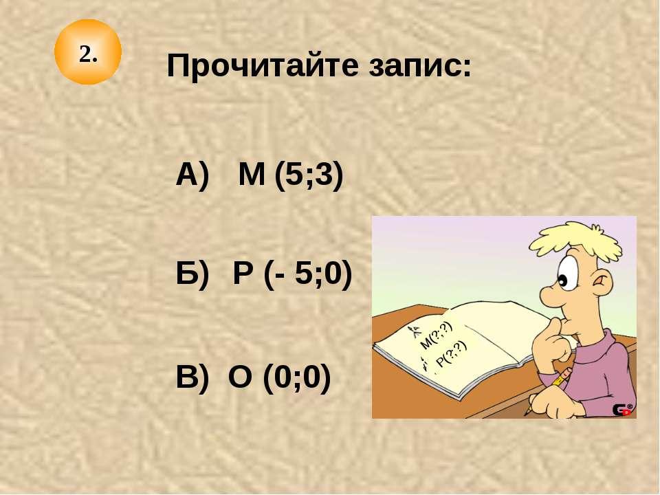 Прочитайте запис: А) Б) В) М (5;3) Р (- 5;0) О (0;0) М(?;?) Р(?;?) 2.