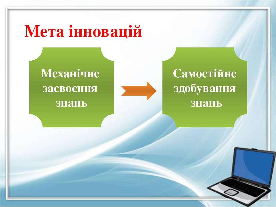 Мета інновацій Механічне засвоєння знань Самостійне здобування знань