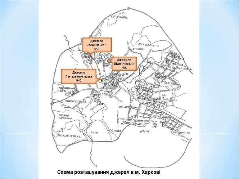 Схема розташування джерел в м.Харкові