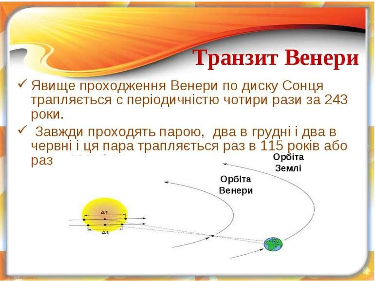 Явище проходження Венери по диску Сонця трапляється c періодичністю чотири ра...