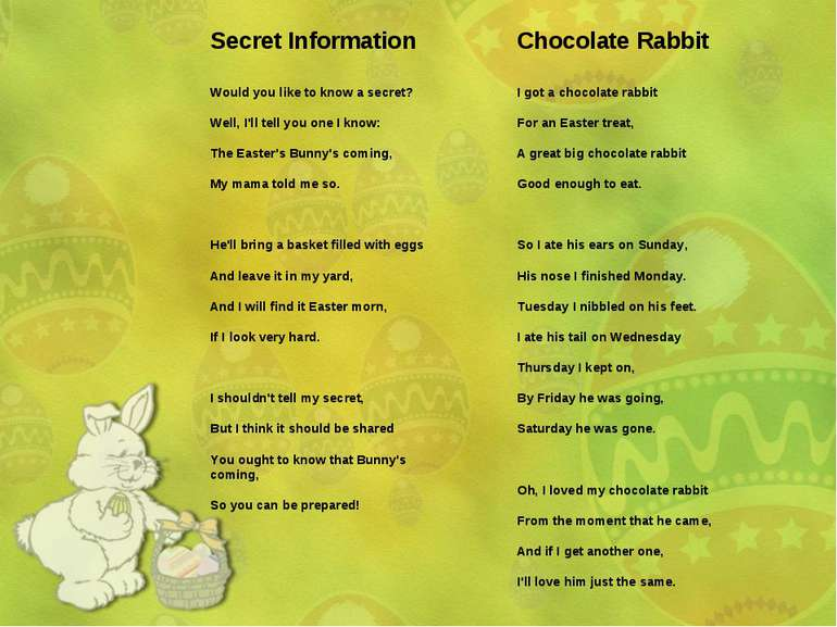 Secret Information Would you like to know a secret? Well, I'll tell you one I...