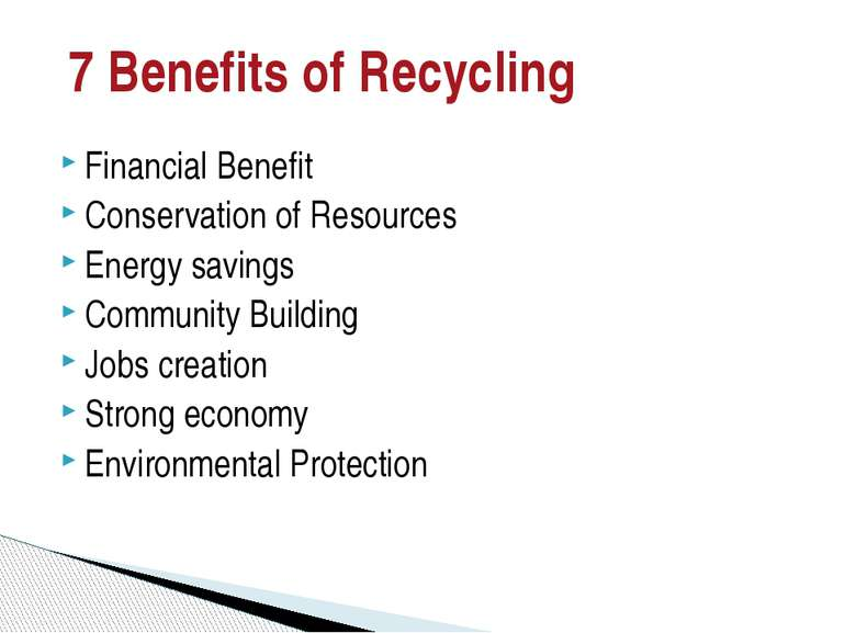 7 Benefits of Recycling Financial Benefit Conservation of Resources Energy sa...