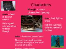 Characters Kaa – Rock Python Snake Not evil; just has a different method of h...