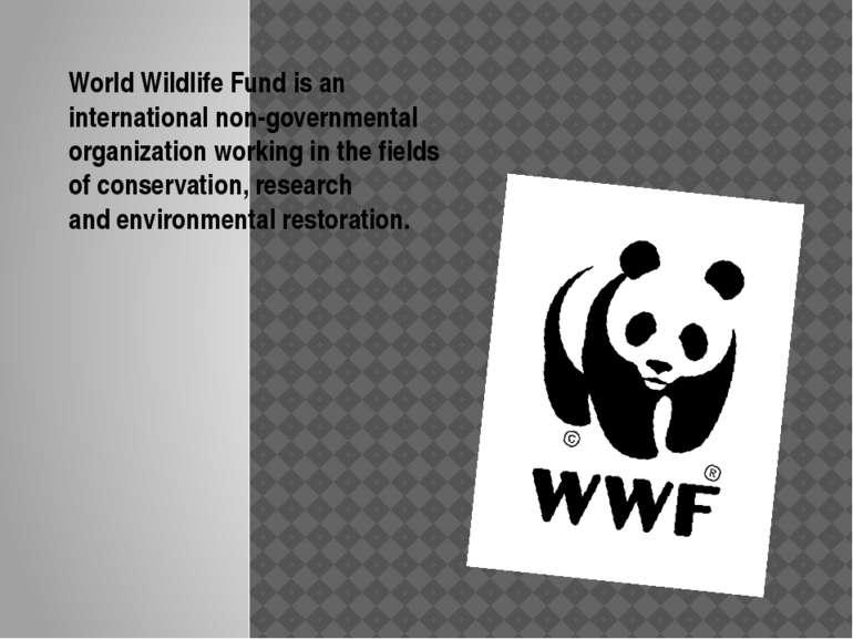 World Wildlife Fundis an internationalnon-governmental organizationworking...