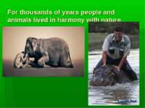 For thousands of years people and animals lived in harmony with nature.
