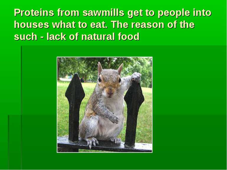Proteins from sawmills get to people into houses what to eat. The reason of t...