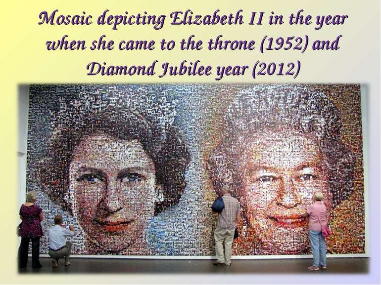 Mosaic depicting Elizabeth II in the year when she came to the throne (1952) ...