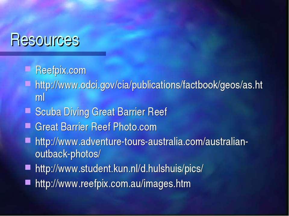 Resources Reefpix.com http://www.odci.gov/cia/publications/factbook/geos/as.h...