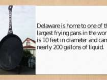 Delaware is home to one of the largest frying pans in the world. It is 10 fee...